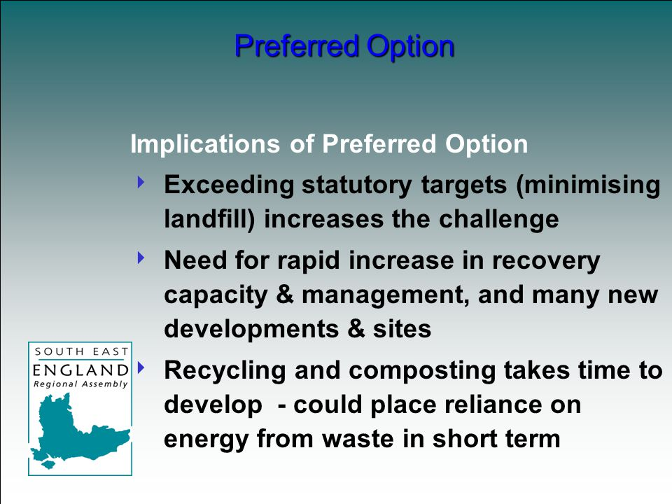 Implications of Preferred Option  Exceeding statutory targets (minimising landfill) increases the challenge  Need for rapid increase in recovery capacity & management, and many new developments & sites  Recycling and composting takes time to develop - could place reliance on energy from waste in short term Preferred Option
