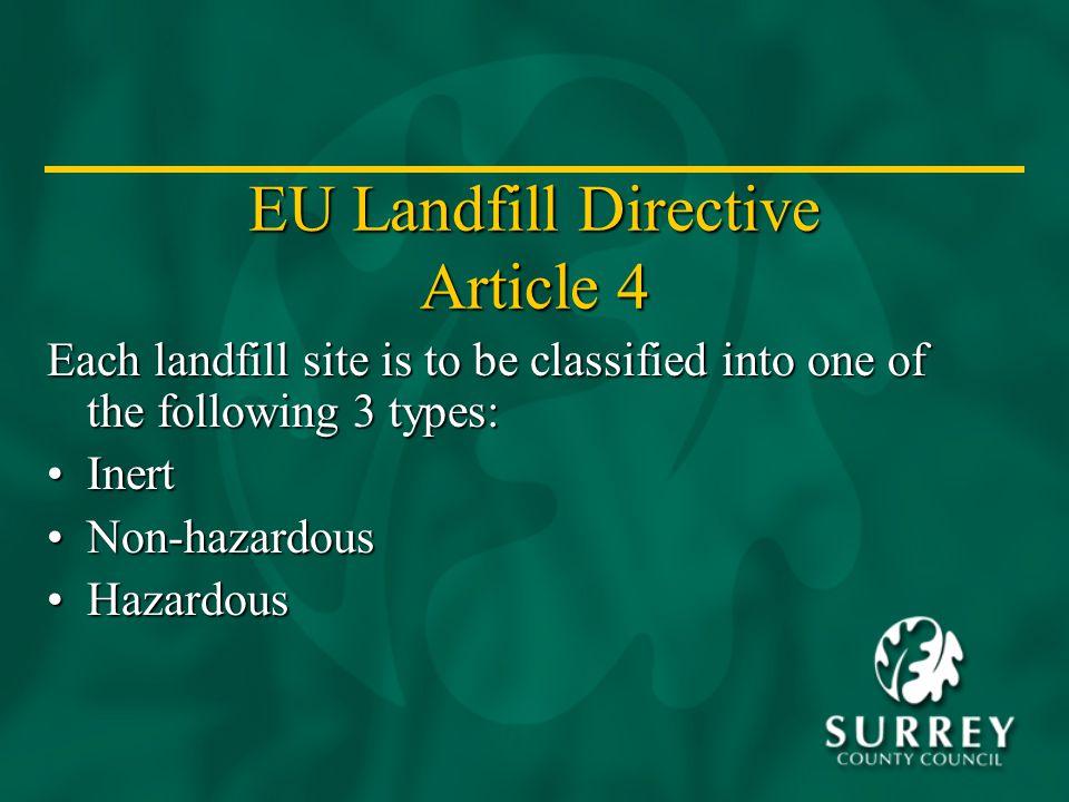 EU Landfill Directive Article 4 Each landfill site is to be classified into one of the following 3 types: InertInert Non-hazardousNon-hazardous HazardousHazardous