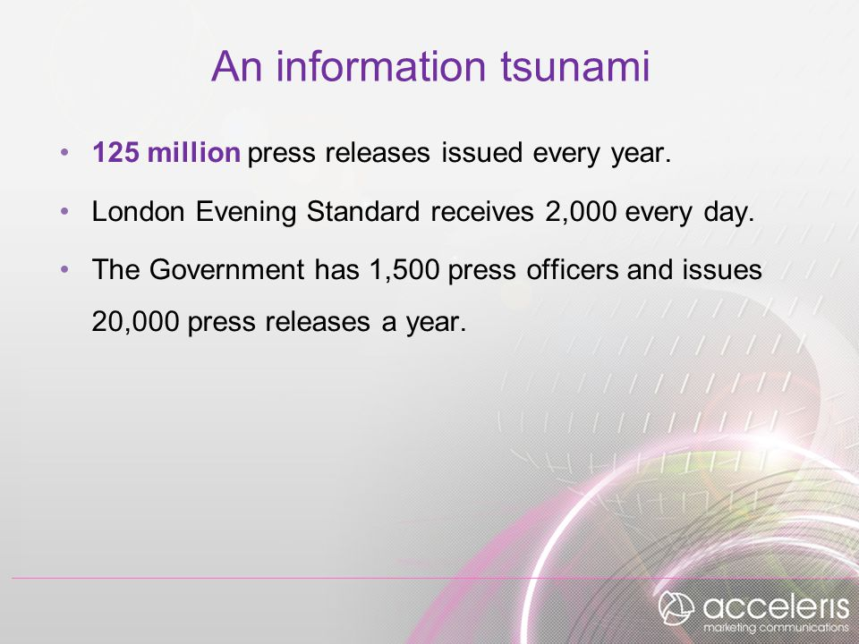 An information tsunami 125 million press releases issued every year.