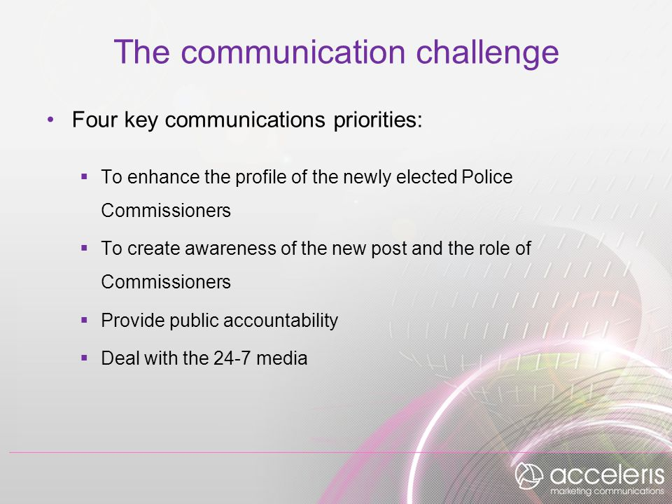 The communication challenge Four key communications priorities:  To enhance the profile of the newly elected Police Commissioners  To create awareness of the new post and the role of Commissioners  Provide public accountability  Deal with the 24-7 media