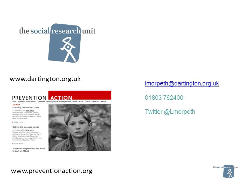 lmorpeth@dartington.org.uk 01803 762400 Twitter @Lmorpeth www.dartington.org.uk www.preventionaction.org