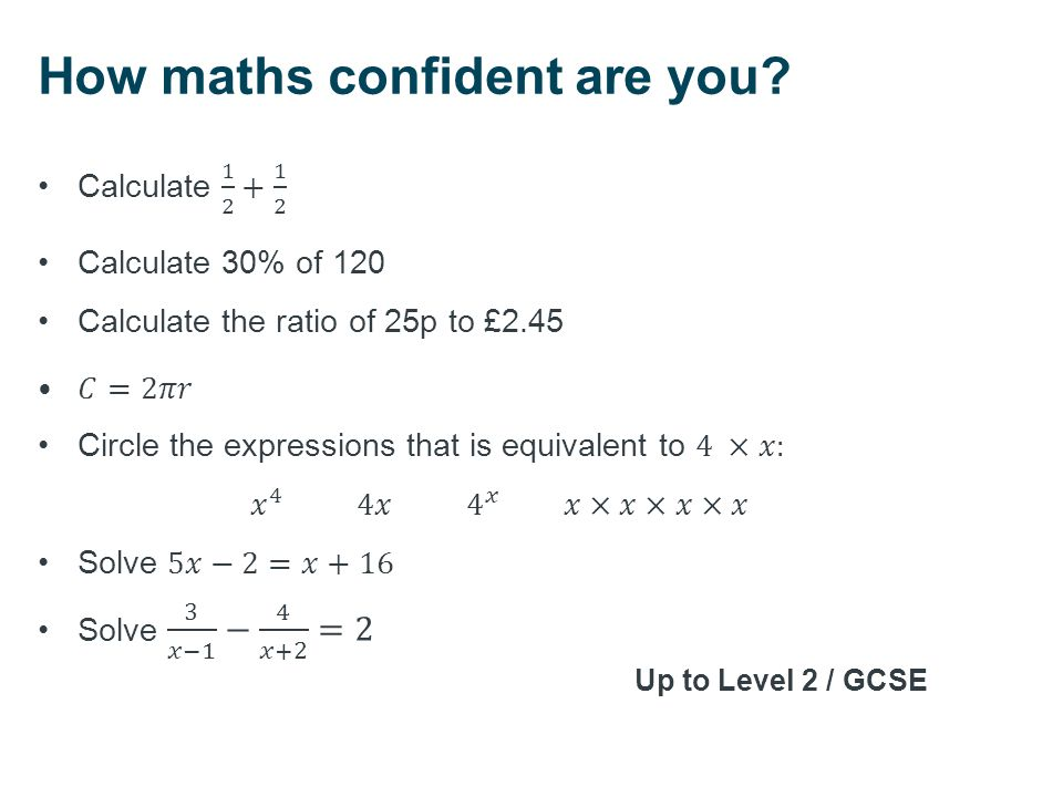 How maths confident are you? Up to Level 2 / GCSE