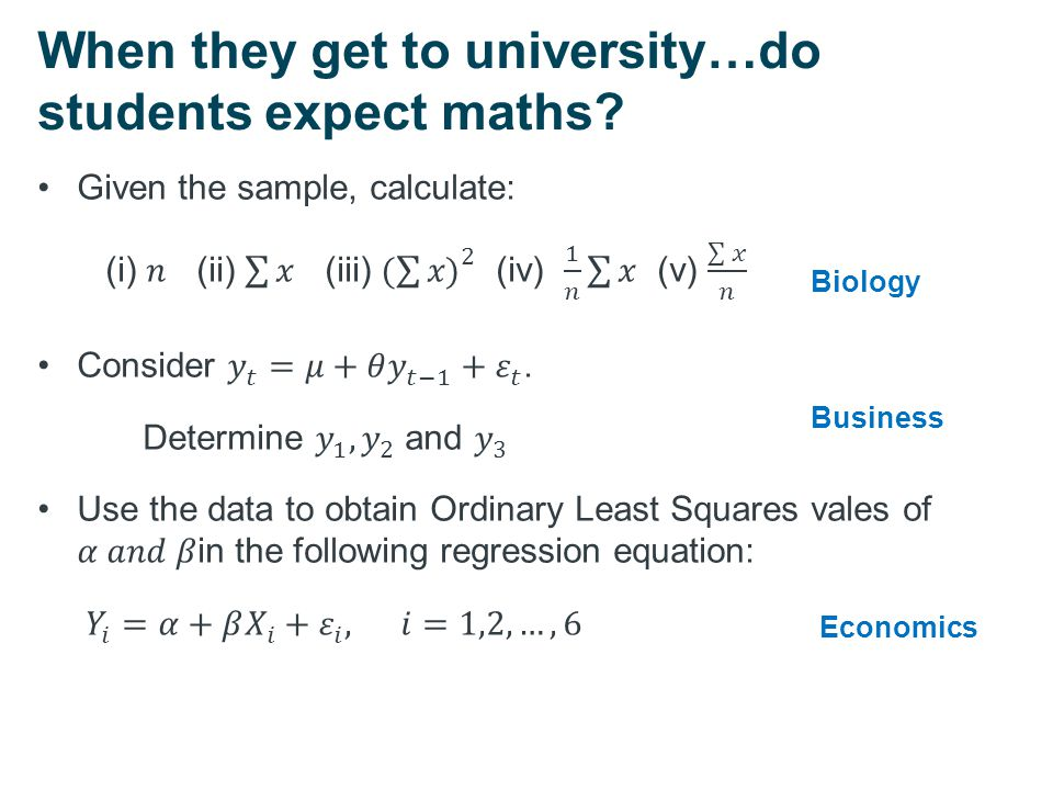 When they get to university…do students expect maths? Biology Business Economics
