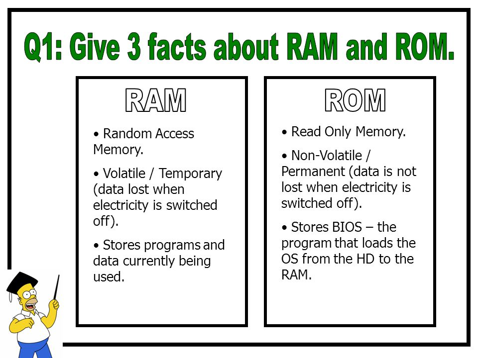 Random Access Memory. Volatile / Temporary (data lost when electricity is switched off). Stores programs and data currently being used. Read Only Memo