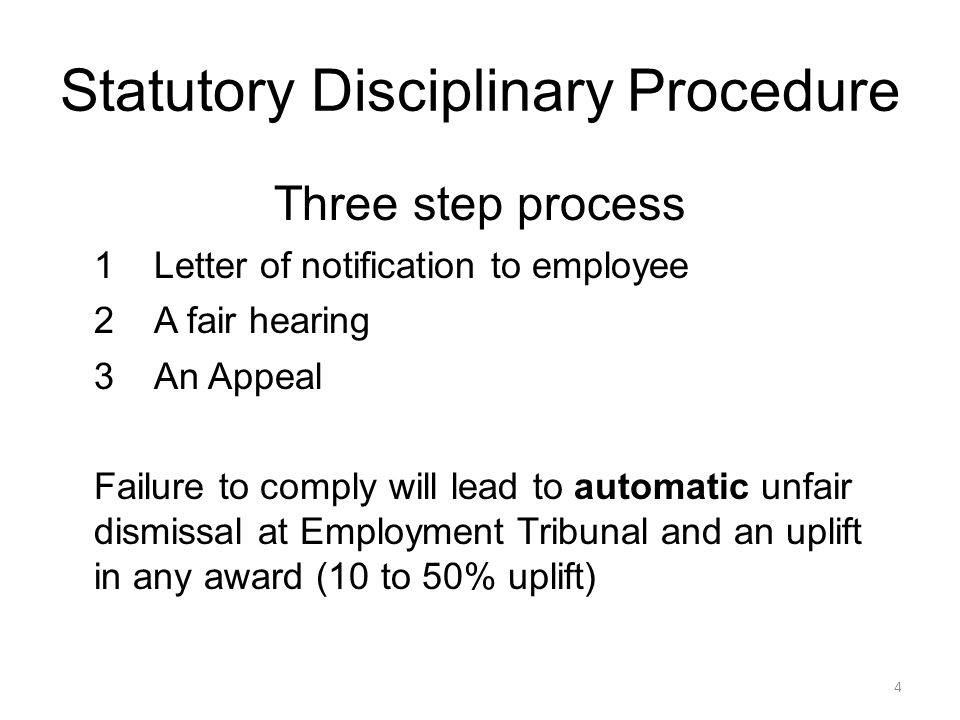 Statutory Grievance Procedure Three step process 1Employee must set out grievance in writing 2A meeting held to discuss the grievance 3The right to appeal if employee not satisfied Failure to comply by employers will lead to breach of Statutory Procedure and an uplift in any award (10 to 50%).