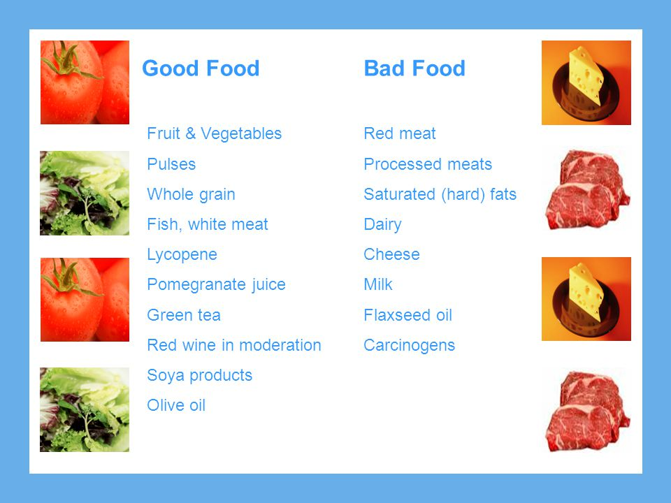 Good Food Fruit & Vegetables Pulses Whole grain Fish, white meat Lycopene Pomegranate juice Green tea Red wine in moderation Soya products Olive oil B