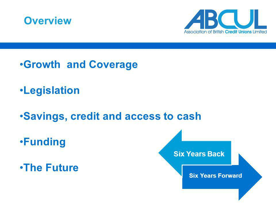 Overview Growth and Coverage Legislation Savings, credit and access to cash Funding The Future Six Years Back Six Years Forward