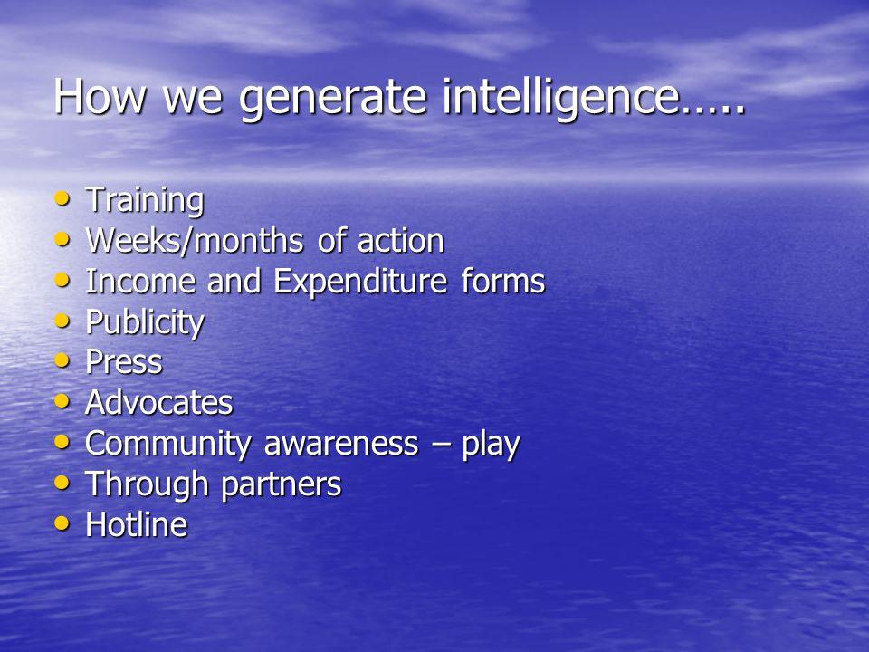 How we generate intelligence….. Training Training Weeks/months of action Weeks/months of action Income and Expenditure forms Income and Expenditure fo