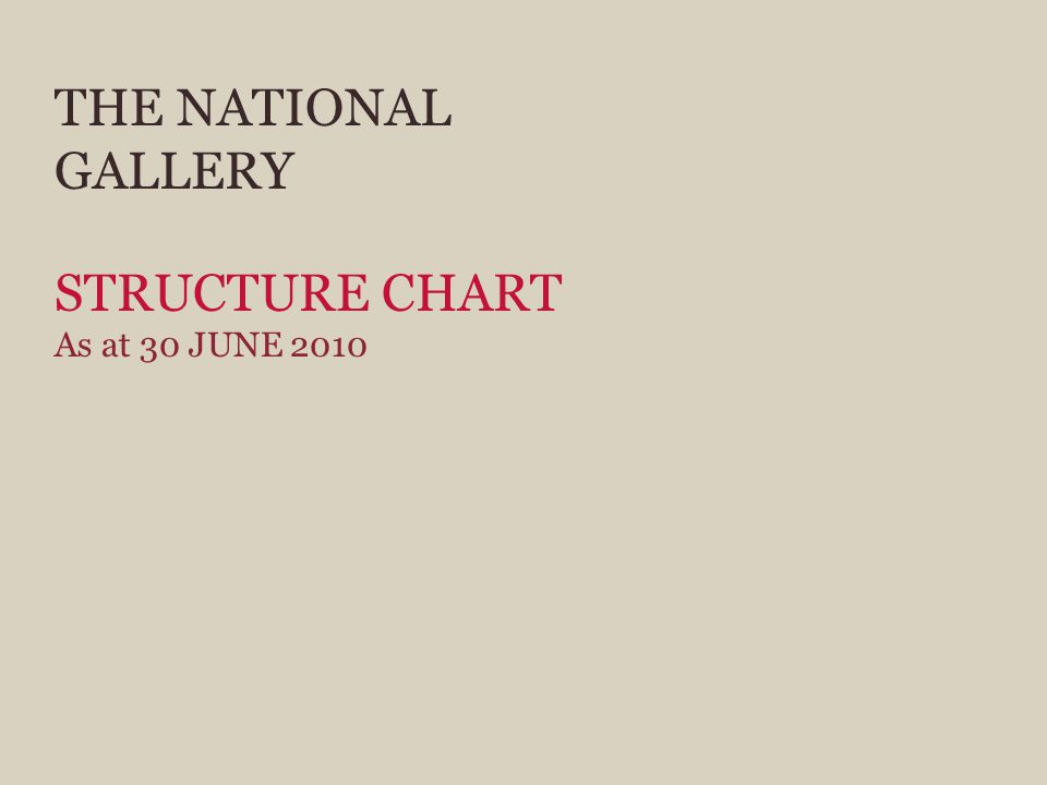 THE NATIONAL GALLERY STRUCTURE CHART As at 30 JUNE 2010