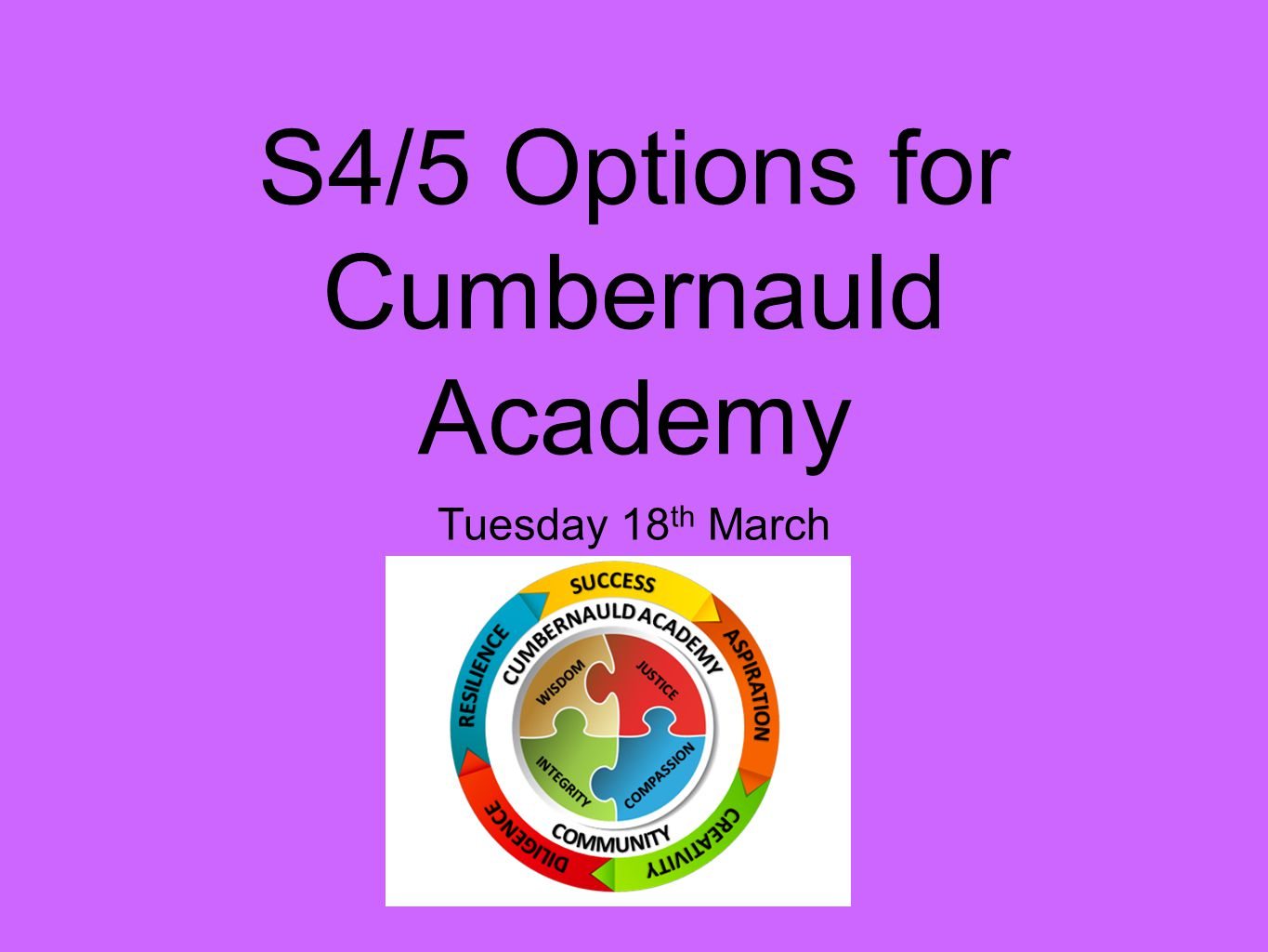 S4/5 Options for Cumbernauld Academy Tuesday 18 th March