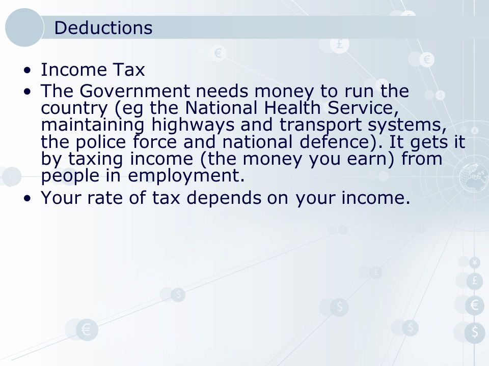Deductions National Insurance Contributions As well as Income Tax, National Insurance Contributions (NICs) are taken.