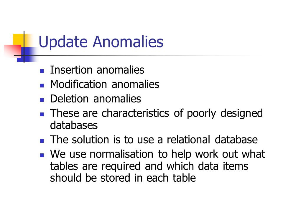Update Anomalies Insertion anomalies Modification anomalies Deletion anomalies These are characteristics of poorly designed databases The solution is