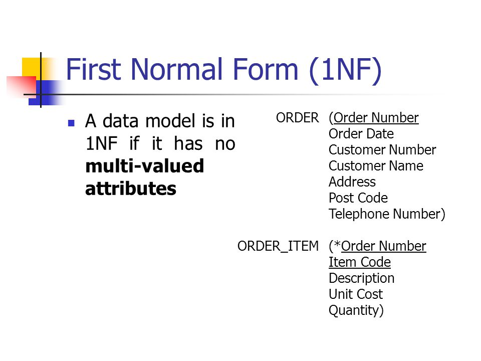 First Normal Form (1NF) A data model is in 1NF if it has no multi-valued attributes ORDER ORDER_ITEM (Order Number Order Date Customer Number Customer Name Address Post Code Telephone Number) (*Order Number Item Code Description Unit Cost Quantity)