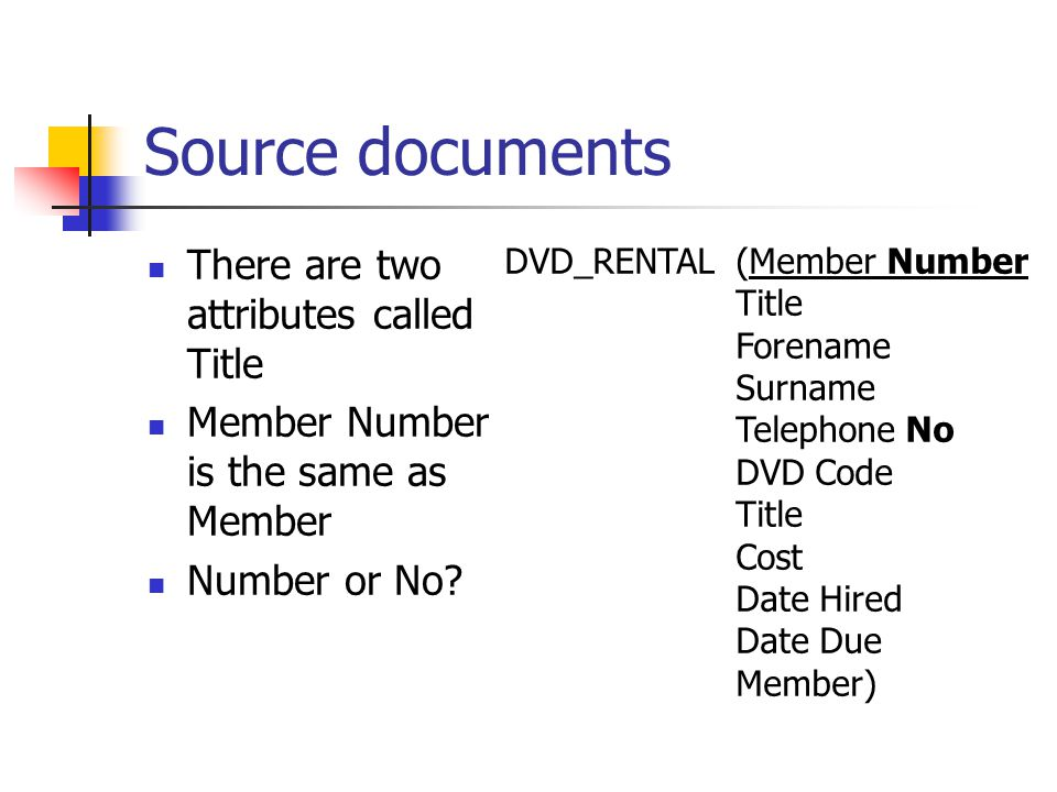 Source documents There are two attributes called Title Member Number is the same as Member Number or No.