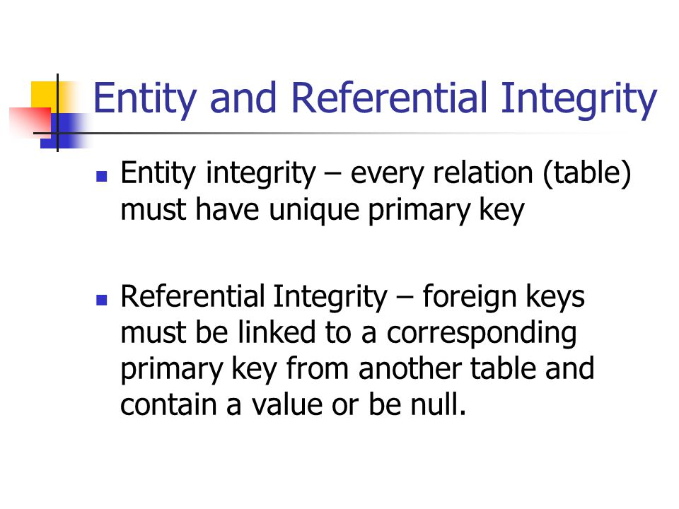 Entity and Referential Integrity Entity integrity – every relation (table) must have unique primary key Referential Integrity – foreign keys must be l