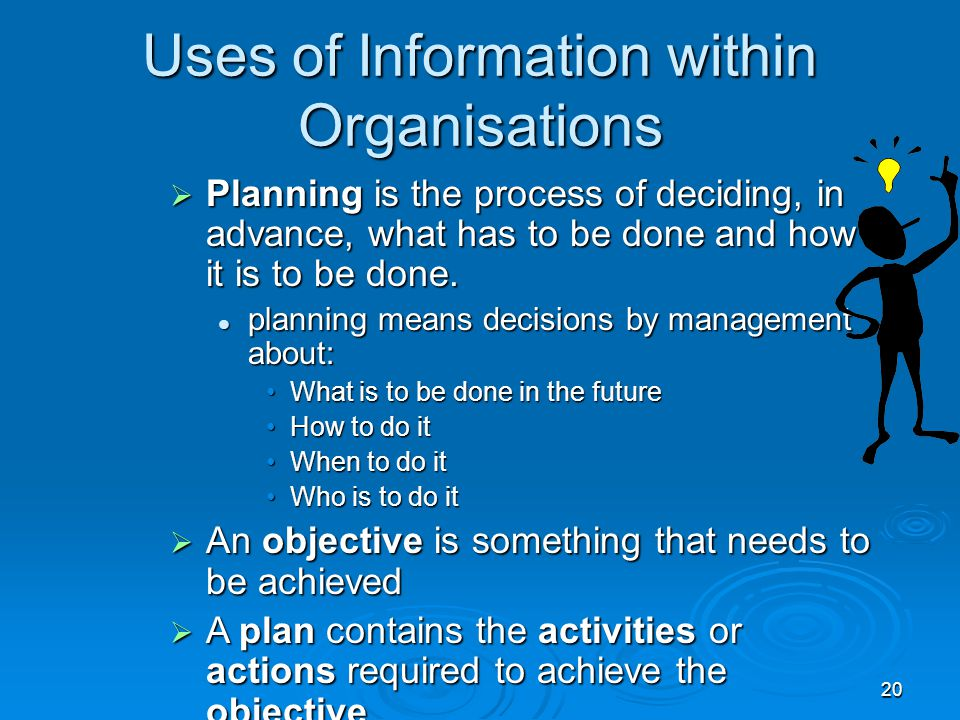 20 Uses of Information within Organisations  Planning is the process of deciding, in advance, what has to be done and how it is to be done. planning