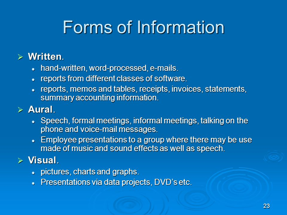 23 Forms of Information  Written. hand-written, word-processed, e-mails. hand-written, word-processed, e-mails. reports from different classes of sof