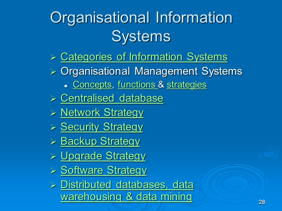 28 Organisational Information Systems  Categories of Information Systems Categories of Information Systems Categories of Information Systems  Organi