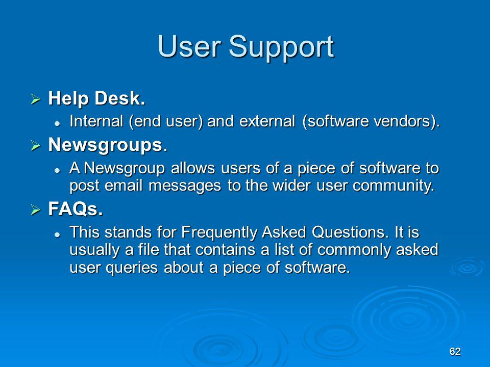 62 User Support  Help Desk. Internal (end user) and external (software vendors). Internal (end user) and external (software vendors).  Newsgroups. A
