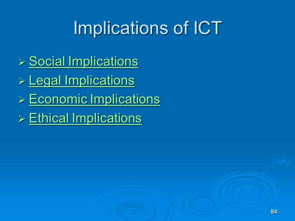 84 Implications of ICT  Social Implications Social Implications Social Implications  Legal Implications Legal Implications Legal Implications  Econ