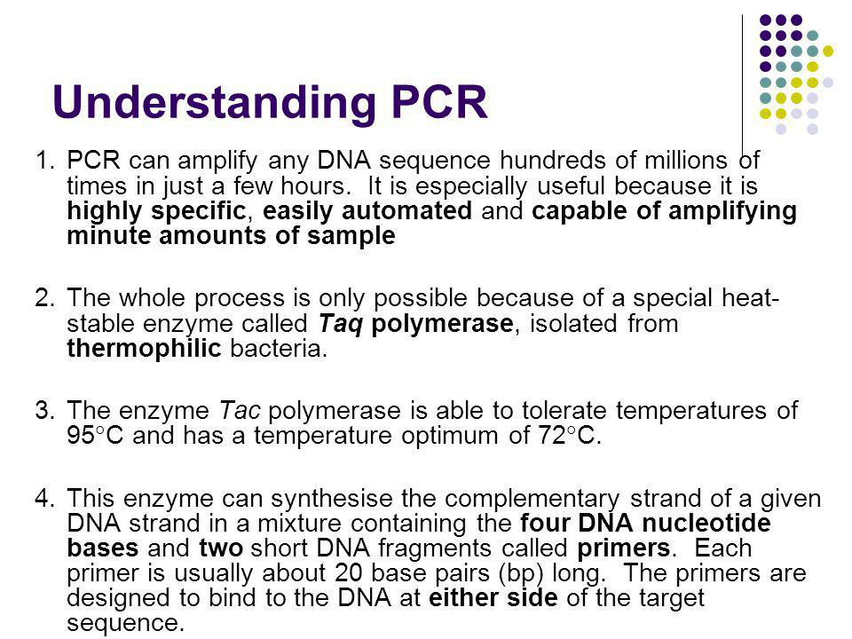 Understanding PCR 1.PCR can amplify any DNA sequence hundreds of millions of times in just a few hours.