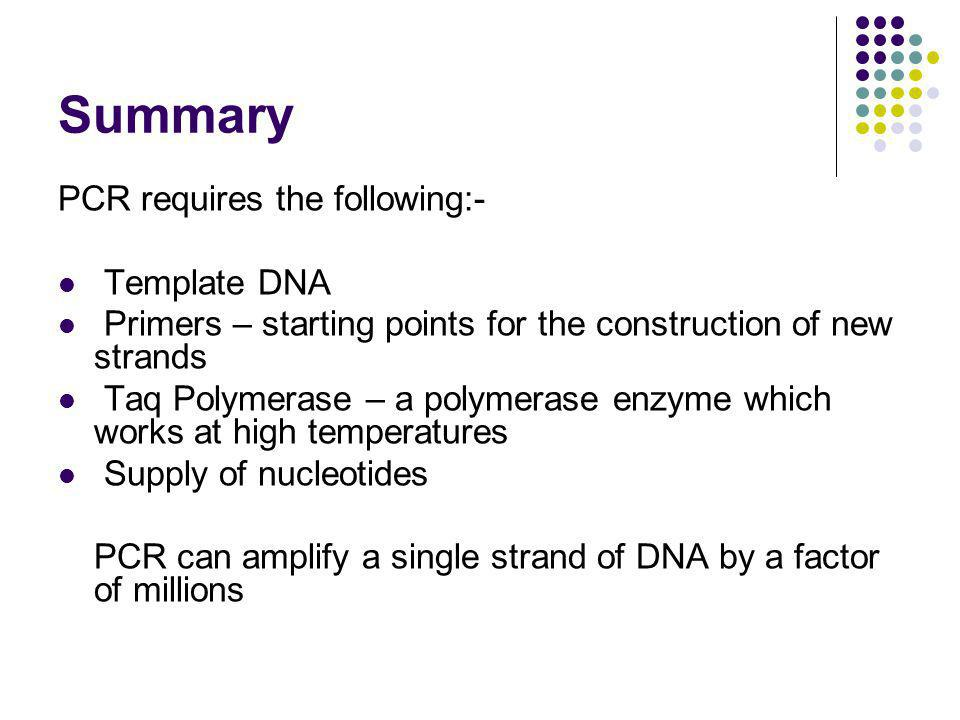 Summary PCR requires the following:- Template DNA Primers – starting points for the construction of new strands Taq Polymerase – a polymerase enzyme which works at high temperatures Supply of nucleotides PCR can amplify a single strand of DNA by a factor of millions