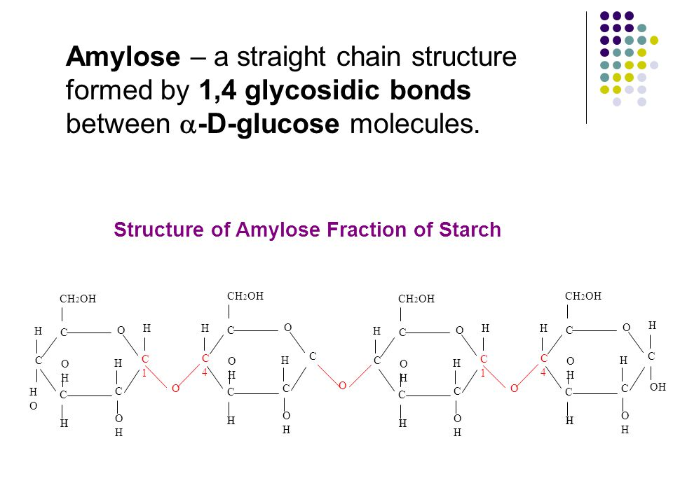 Amylose – a straight chain structure formed by 1,4 glycosidic bonds between  -D-glucose molecules.