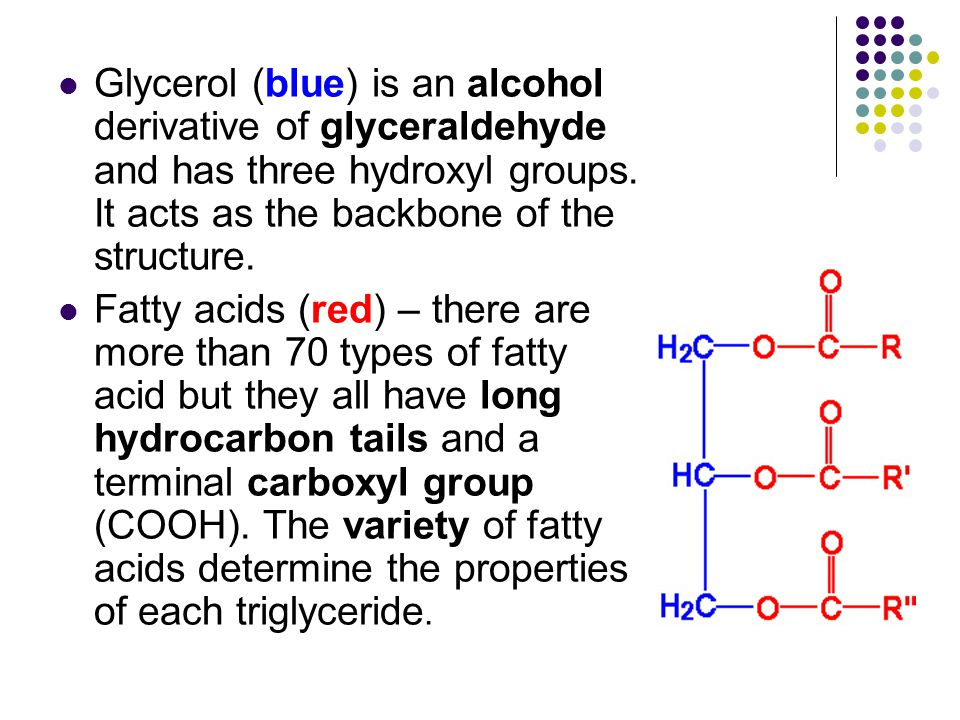 Glycerol (blue) is an alcohol derivative of glyceraldehyde and has three hydroxyl groups.