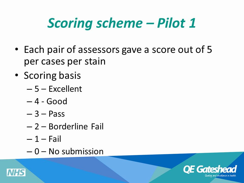 Scoring scheme – Pilot 1 Each pair of assessors gave a score out of 5 per cases per stain Scoring basis – 5 – Excellent – 4 - Good – 3 – Pass – 2 – Borderline Fail – 1 – Fail – 0 – No submission