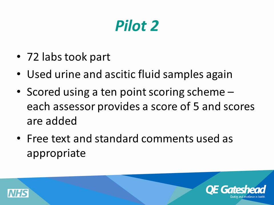 Pilot 2 72 labs took part Used urine and ascitic fluid samples again Scored using a ten point scoring scheme – each assessor provides a score of 5 and scores are added Free text and standard comments used as appropriate