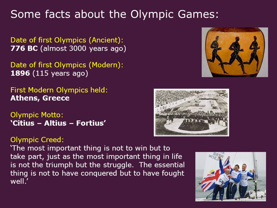 Some facts about the Paralympic Games: Date of first Stoke Mandeville Games: 1948 Date of first official Paralympic Games: 1960 Origins of the title Paralympics: From the word Parallel (from the Greek preposition 'para' ) and Olympics – to illustrate how the two games exist side by side Paralympic Motto: 'Spirit in motion' Paralympic Vision: 'To enable Paralympic athletes to achieve sporting excellence and to inspire and excite the world.'