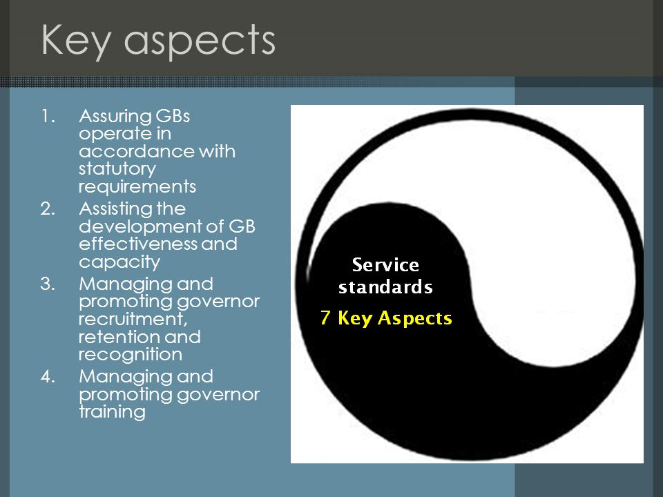 Key aspects 5.Promoting efficient and effective administrative support to GBs 6.Promoting governor networks 7.Fulfilling key functions within LA frameworks