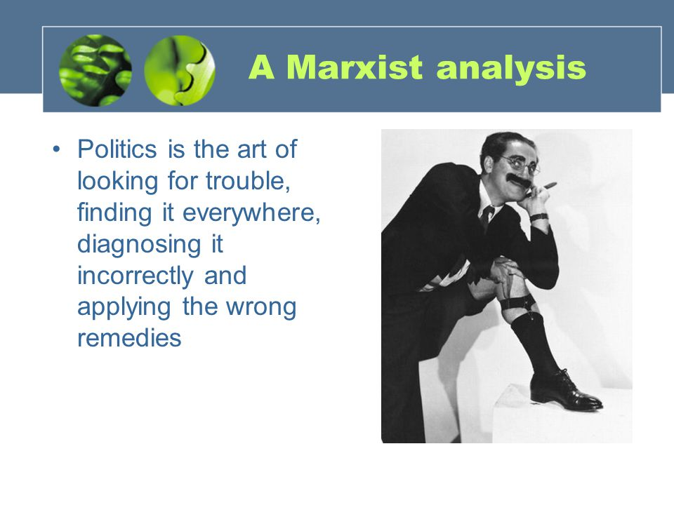 A Marxist analysis Politics is the art of looking for trouble, finding it everywhere, diagnosing it incorrectly and applying the wrong remedies