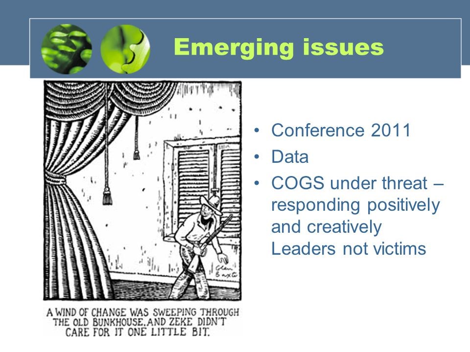 Emerging issues Conference 2011 Data COGS under threat – responding positively and creatively Leaders not victims