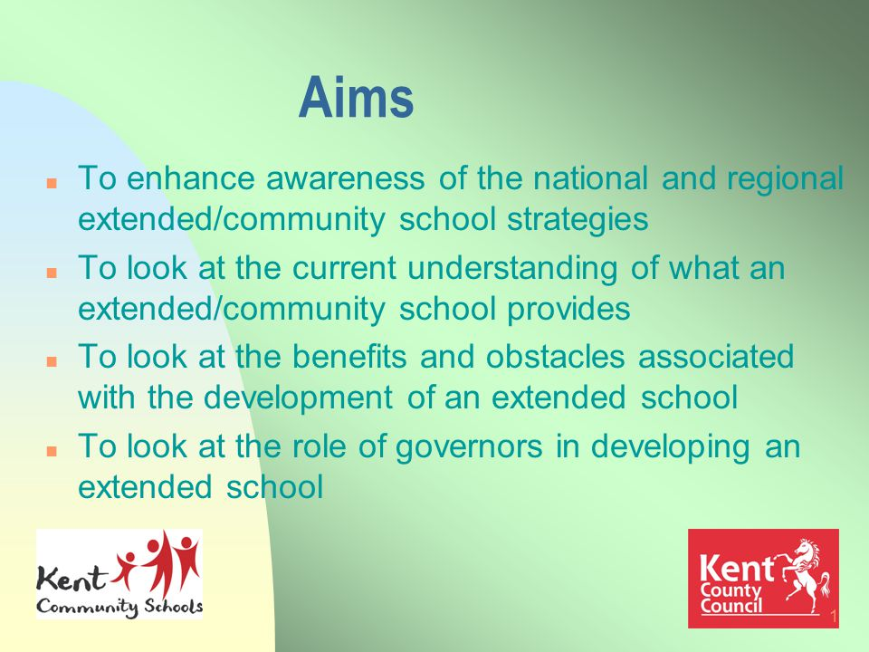 1 Aims n To enhance awareness of the national and regional extended/community school strategies n To look at the current understanding of what an extended/community school provides n To look at the benefits and obstacles associated with the development of an extended school n To look at the role of governors in developing an extended school
