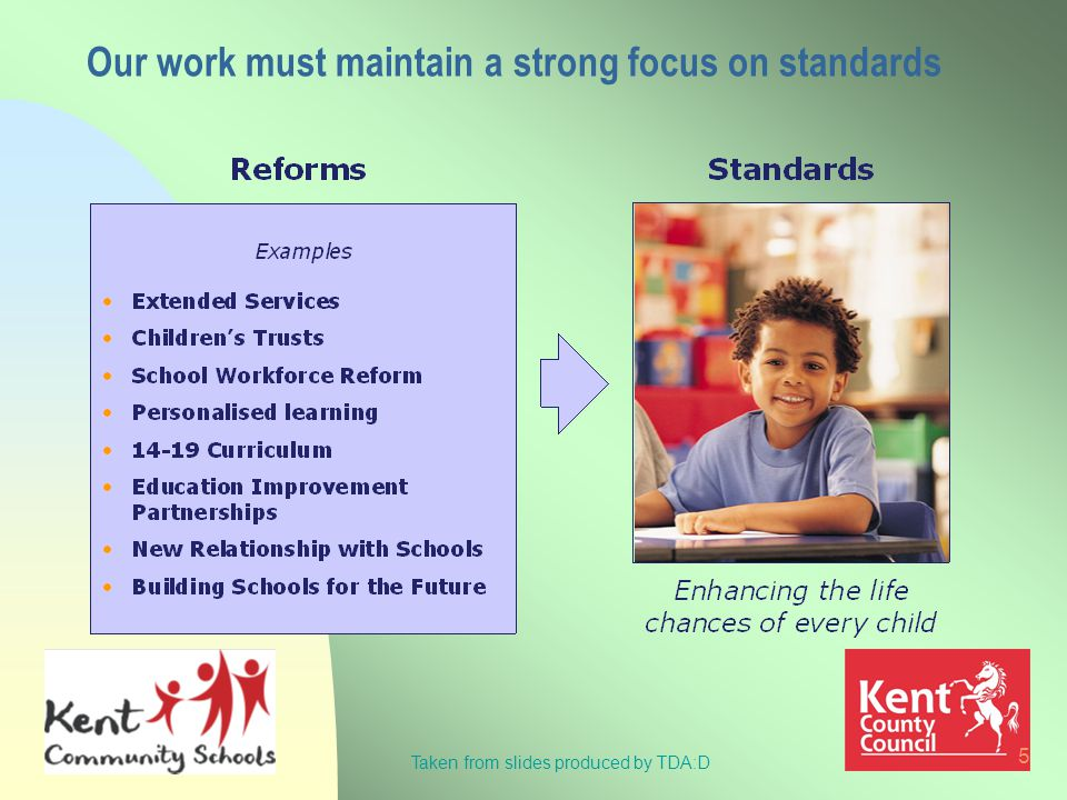 5 Our work must maintain a strong focus on standards Taken from slides produced by TDA:D