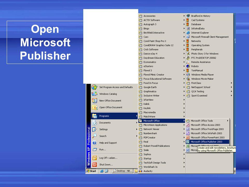 Open Microsoft Publisher