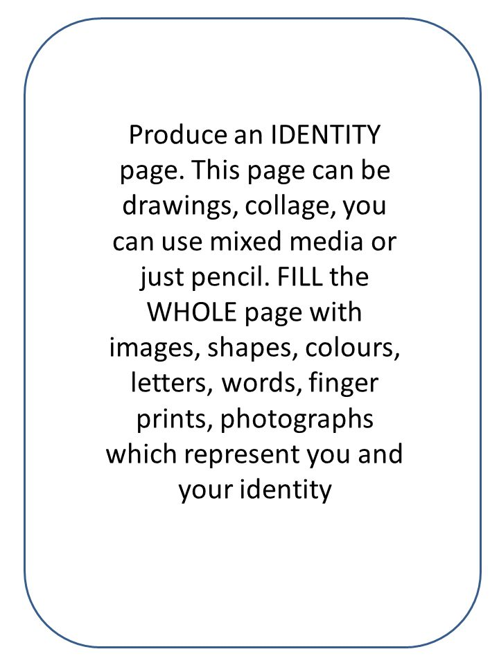 Produce an IDENTITY page.