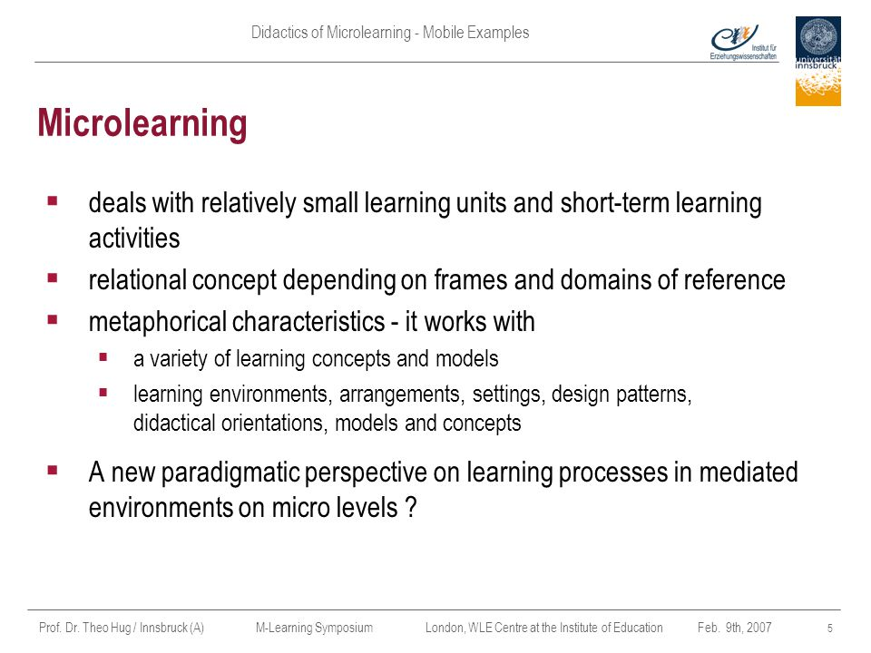 Didactics of Microlearning - Mobile Examples Prof.