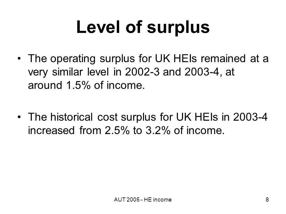 AUT 2005 - HE income8 Level of surplus The operating surplus for UK HEIs remained at a very similar level in 2002-3 and 2003-4, at around 1.5% of income.