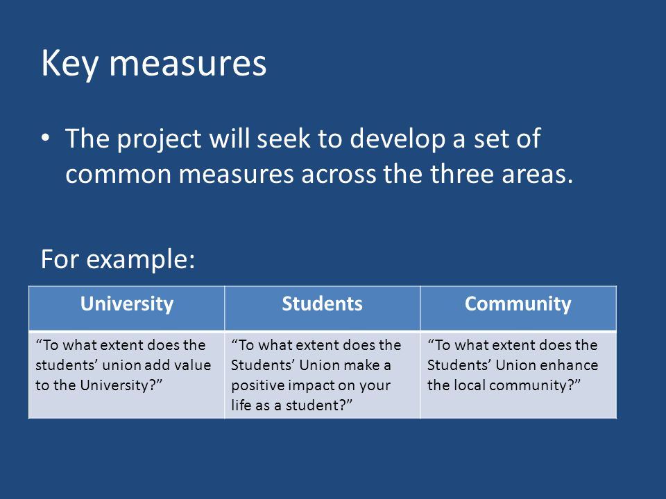 Key measures The project will seek to develop a set of common measures across the three areas.