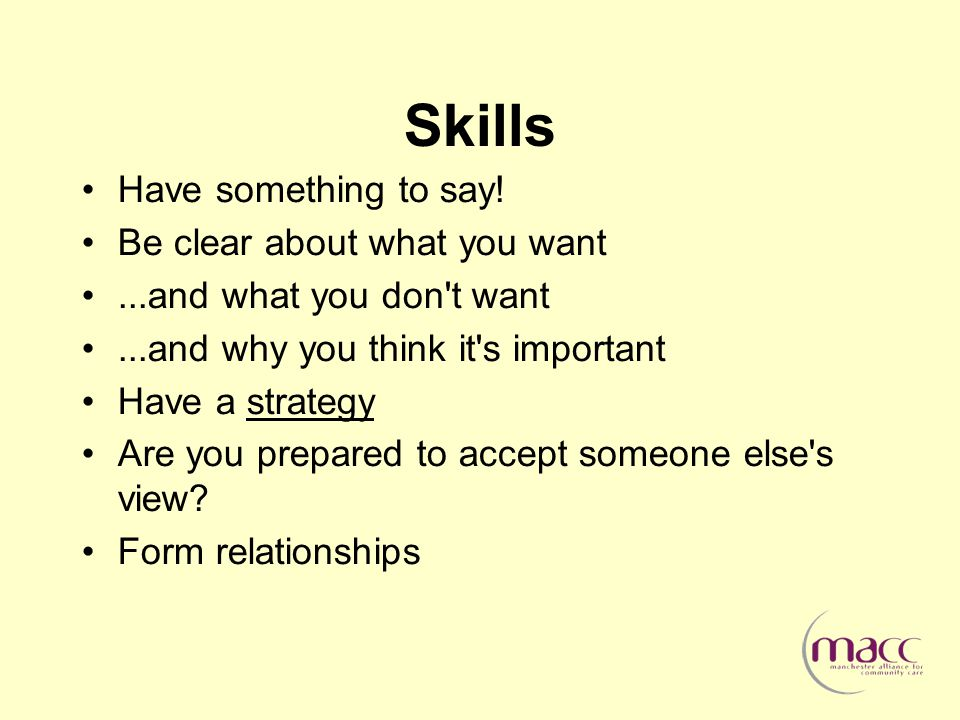 Skills Have something to say.