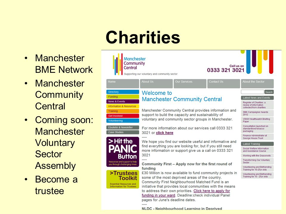 Charities Manchester BME Network Manchester Community Central Coming soon: Manchester Voluntary Sector Assembly Become a trustee