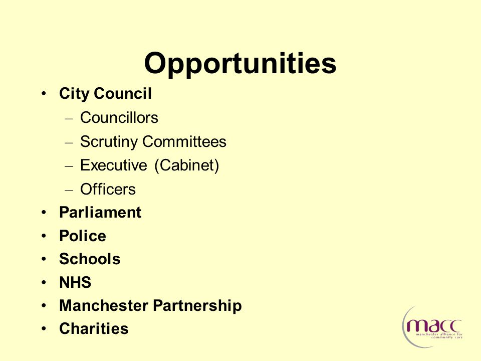 Opportunities City Council – Councillors – Scrutiny Committees – Executive (Cabinet) – Officers Parliament Police Schools NHS Manchester Partnership Charities