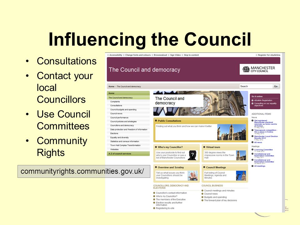Influencing the Council Consultations Contact your local Councillors Use Council Committees Community Rights communityrights.communities.gov.uk/