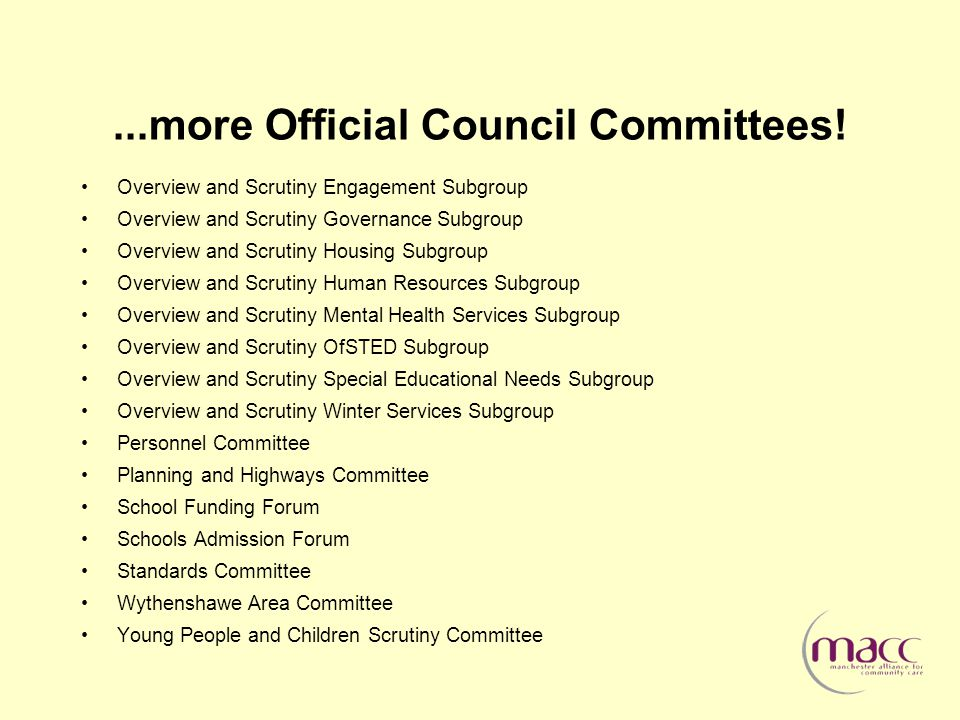 ...more Official Council Committees.