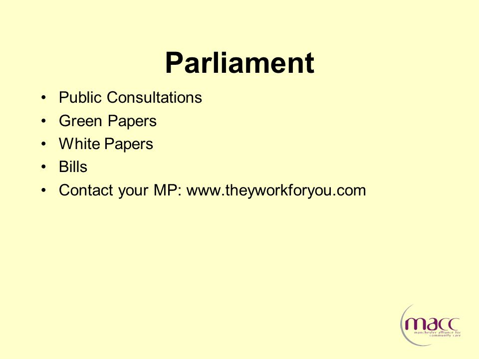 Parliament Public Consultations Green Papers White Papers Bills Contact your MP: www.theyworkforyou.com