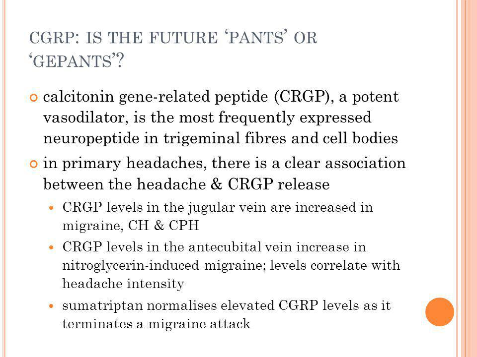 CGRP : IS THE FUTURE ' PANTS ' OR ' GEPANTS '.