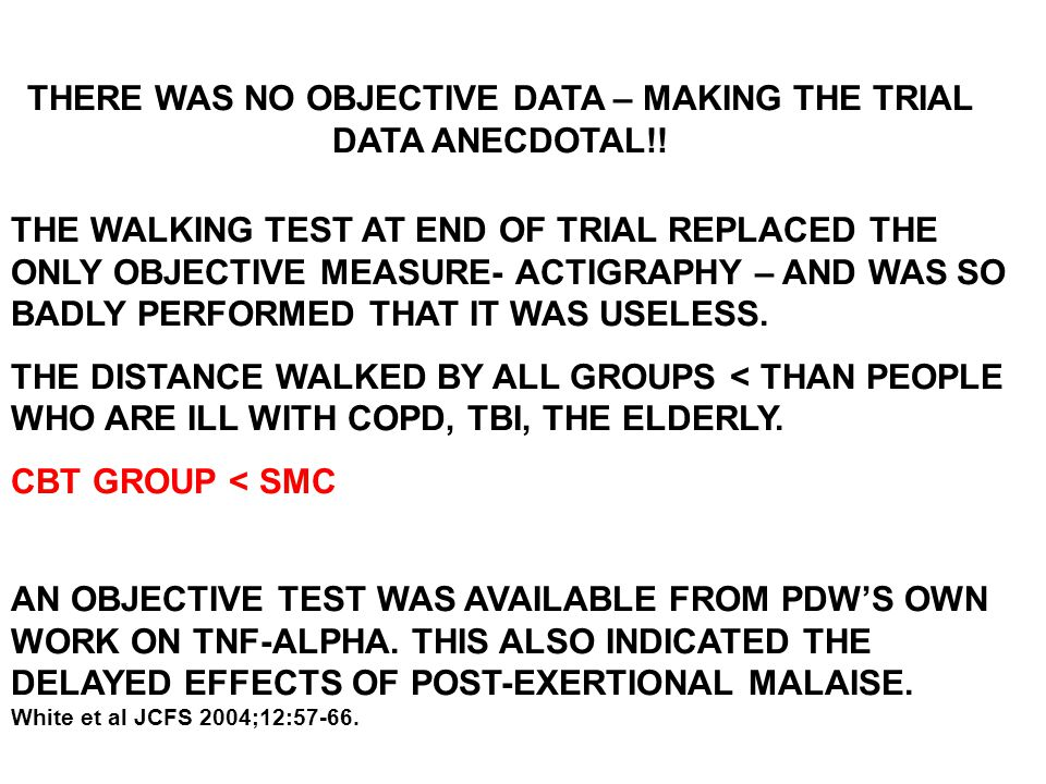 THERE WAS NO OBJECTIVE DATA – MAKING THE TRIAL DATA ANECDOTAL!! THE WALKING TEST AT END OF TRIAL REPLACED THE ONLY OBJECTIVE MEASURE- ACTIGRAPHY – AND