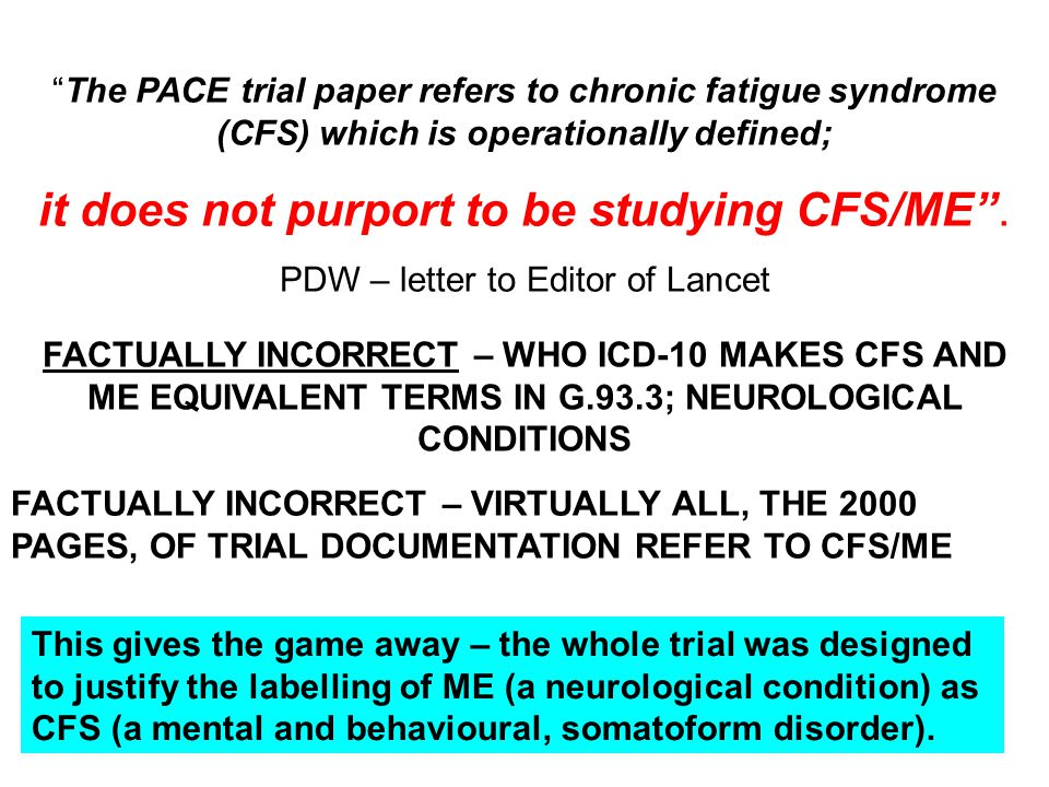 """FACTUALLY INCORRECT – WHO ICD-10 MAKES CFS AND ME EQUIVALENT TERMS IN G.93.3; NEUROLOGICAL CONDITIONS """"The PACE trial paper refers to chronic fatigue"""